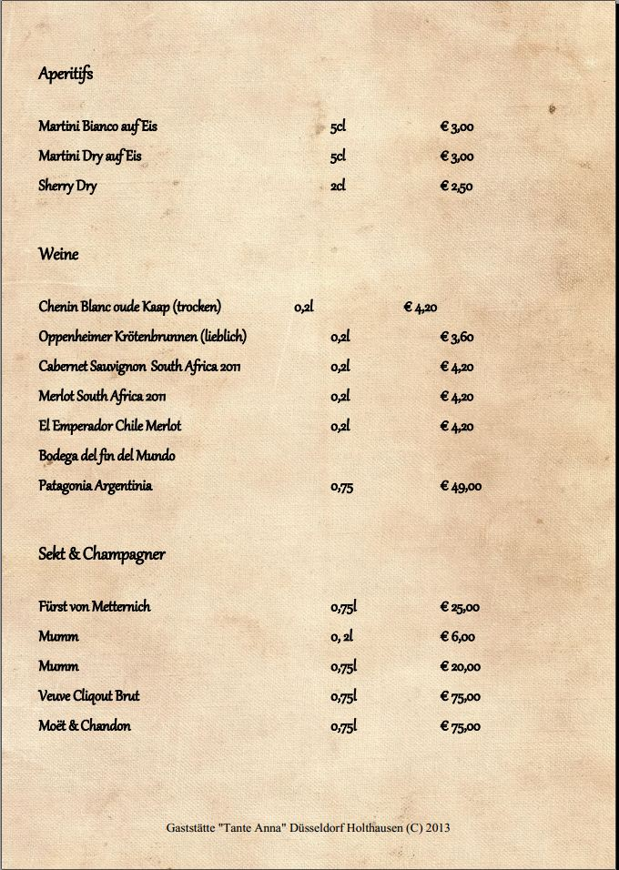 Restaurant Tante Anna – Getränkekarte 6/6 | Restaurant Tante Anna